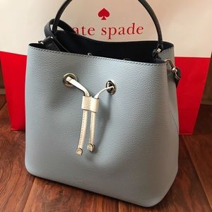 ♠️kate spade Large Bucket eva blue dawn Bag